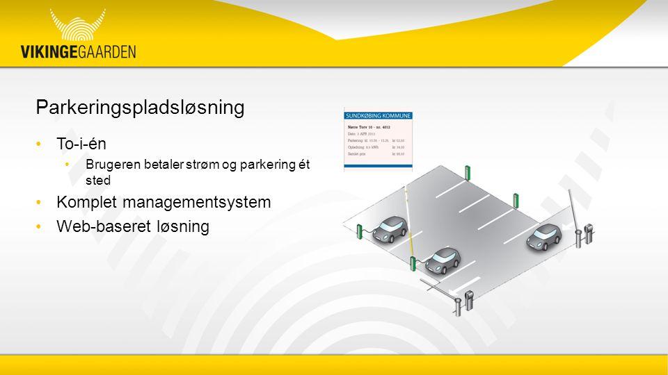 Parkeringspladsløsning To-i-én Brugeren betaler strøm og parkering ét sted Komplet managementsystem Web-baseret løsning