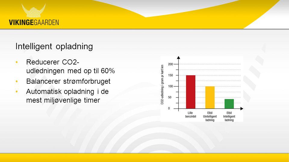 Intelligent opladning Reducerer CO2- udledningen med op til 60% Balancerer strømforbruget Automatisk opladning i de mest miljøvenlige timer
