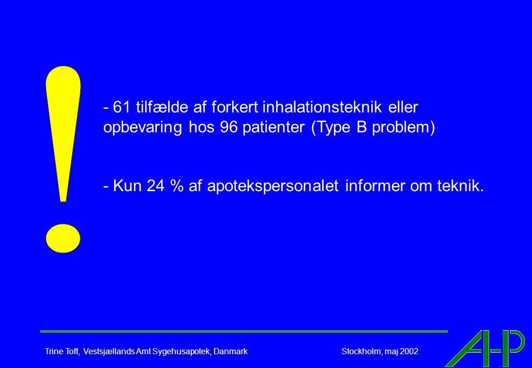 Trine Toft, Vestsjællands Amt Sygehusapotek, Danmark Stockholm, maj 2002 - 61 tilfælde af forkert inhalationsteknik eller opbevaring hos 96 patienter (Type B problem) - Kun 24 % af apotekspersonalet informer om teknik.