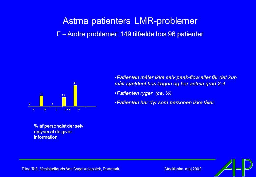 Trine Toft, Vestsjællands Amt Sygehusapotek, Danmark Stockholm, maj 2002 Astma patienters LMR-problemer F – Andre problemer; 149 tilfælde hos 96 patienter Patienten måler ikke selv peak-flow eller får det kun målt sjældent hos lægen og har astma grad 2-4 Patienten ryger (ca.