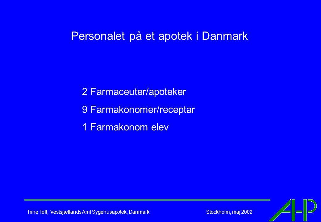 Trine Toft, Vestsjællands Amt Sygehusapotek, Danmark Stockholm, maj 2002 Personalet på et apotek i Danmark 2 Farmaceuter/apoteker 9 Farmakonomer/receptar 1 Farmakonom elev