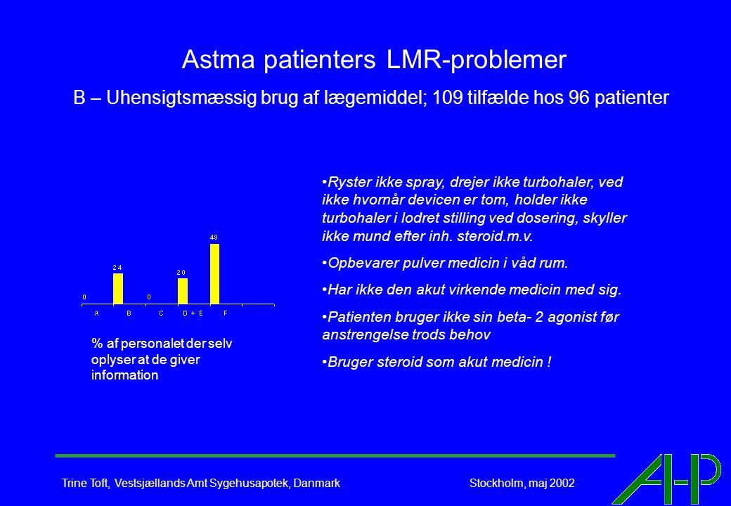 Trine Toft, Vestsjællands Amt Sygehusapotek, Danmark Stockholm, maj 2002 Astma patienters LMR-problemer B – Uhensigtsmæssig brug af lægemiddel; 109 tilfælde hos 96 patienter Ryster ikke spray, drejer ikke turbohaler, ved ikke hvornår devicen er tom, holder ikke turbohaler i lodret stilling ved dosering, skyller ikke mund efter inh.