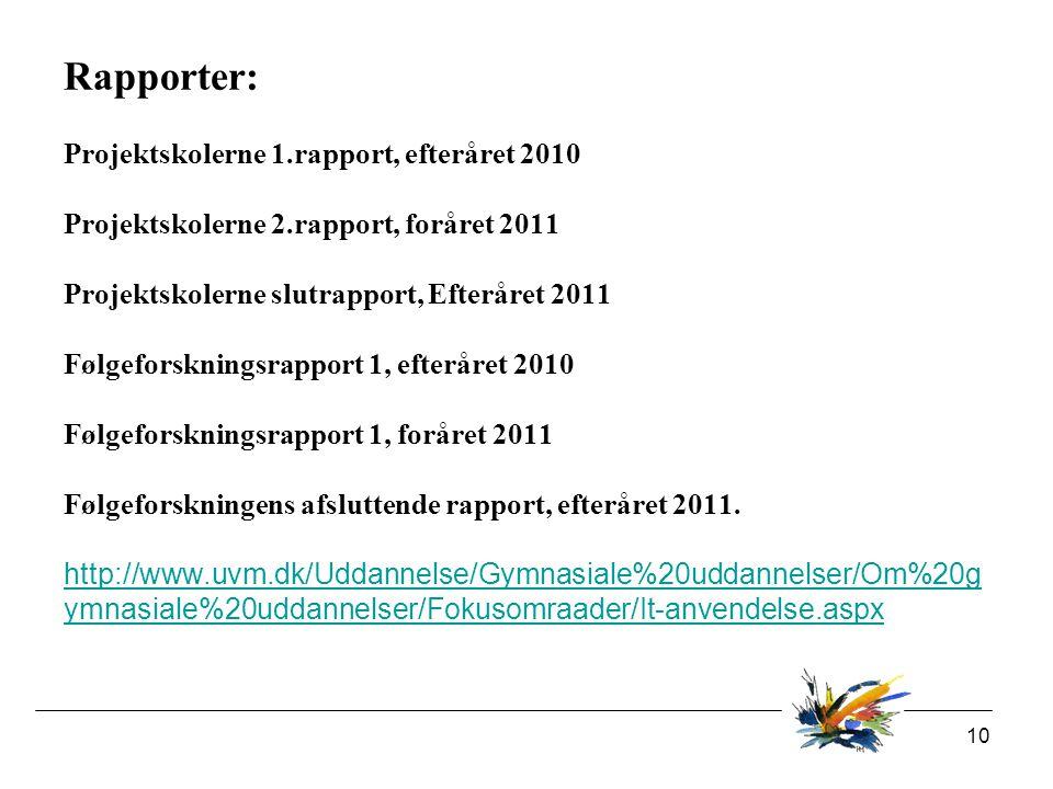 10 Rapporter: Projektskolerne 1.rapport, efteråret 2010 Projektskolerne 2.rapport, foråret 2011 Projektskolerne slutrapport, Efteråret 2011 Følgeforskningsrapport 1, efteråret 2010 Følgeforskningsrapport 1, foråret 2011 Følgeforskningens afsluttende rapport, efteråret 2011.