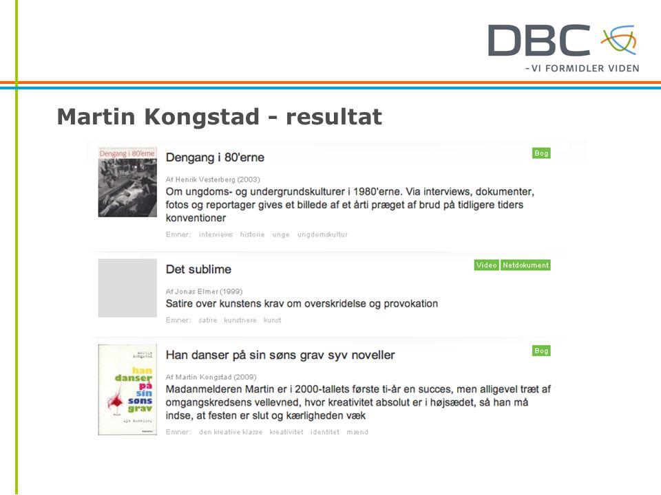 Martin Kongstad - resultat