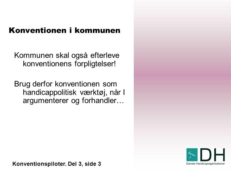 Konventionen i kommunen Kommunen skal også efterleve konventionens forpligtelser.