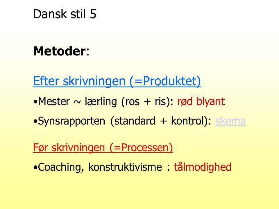 Dansk stil 5 Metoder: Efter skrivningen (=Produktet) Mester ~ lærling (ros + ris): rød blyant Synsrapporten (standard + kontrol): skemaskema Før skrivningen (=Processen) Coaching, konstruktivisme : tålmodighed