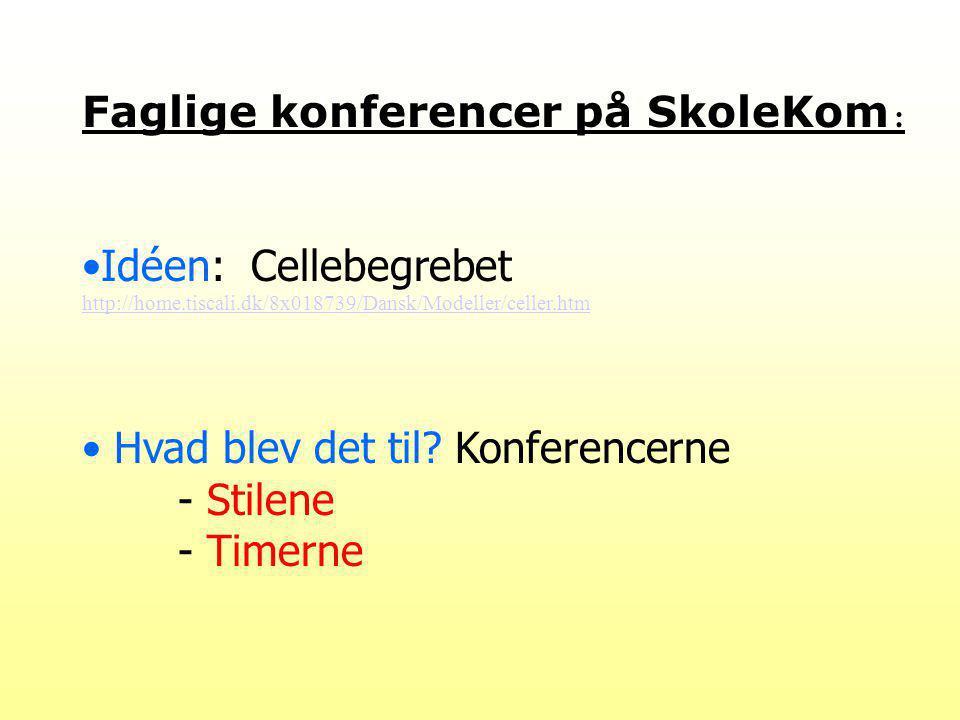Faglige konferencer på SkoleKom : Idéen: Cellebegrebet http://home.tiscali.dk/8x018739/Dansk/Modeller/celler.htm http://home.tiscali.dk/8x018739/Dansk/Modeller/celler.htm Hvad blev det til.
