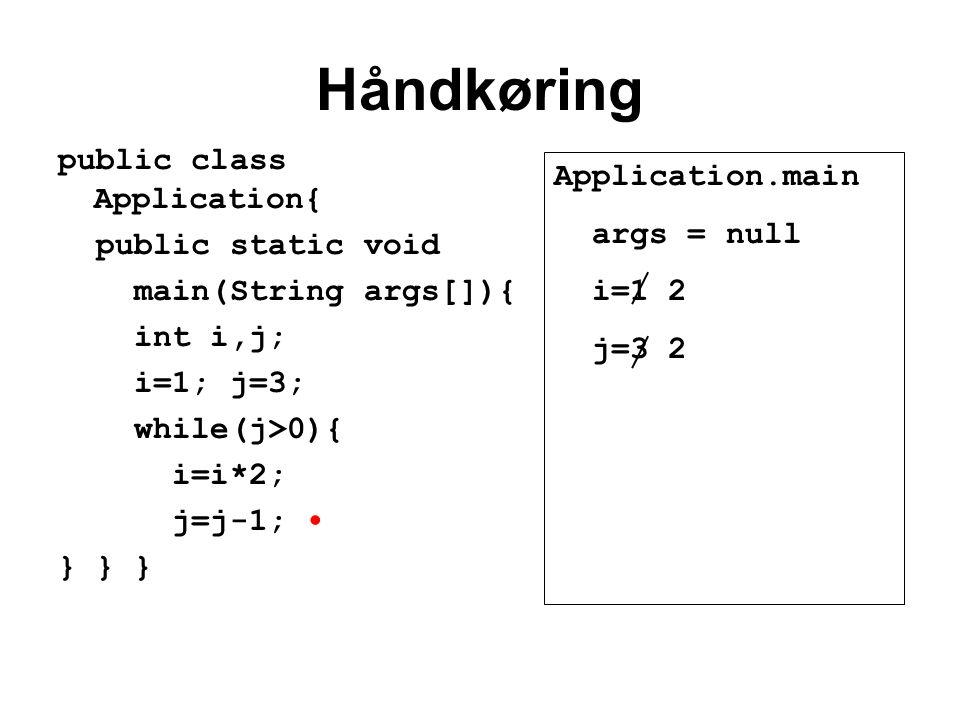 Håndkøring public class Application{ public static void main(String args[]){ int i,j; i=1; j=3; while(j>0){ i=i*2; j=j-1; } } } Application.main args = null i=1 2 j=3 2