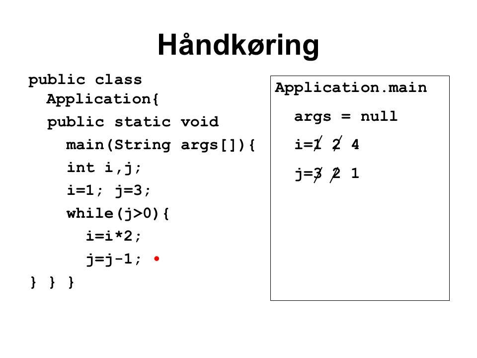 Håndkøring public class Application{ public static void main(String args[]){ int i,j; i=1; j=3; while(j>0){ i=i*2; j=j-1; } } } Application.main args = null i=1 2 4 j=3 2 1