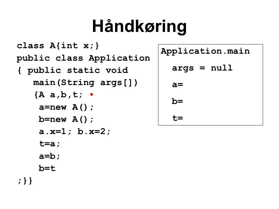 Håndkøring class A{int x;} public class Application { public static void main(String args[]) {A a,b,t; a=new A(); b=new A(); a.x=1; b.x=2; t=a; a=b; b=t ;}} Application.main args = null a= b= t=