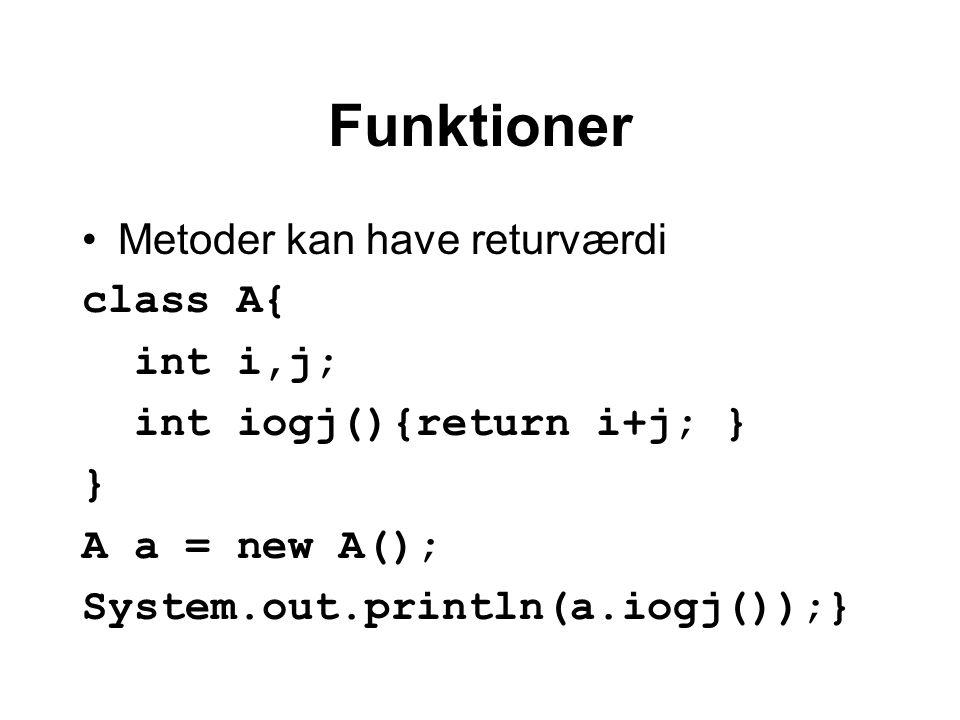 Funktioner Metoder kan have returværdi class A{ int i,j; int iogj(){return i+j; } } A a = new A(); System.out.println(a.iogj());}