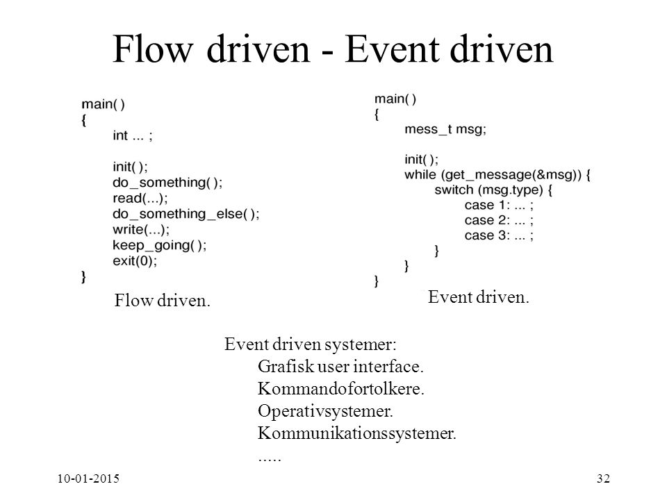 10-01-201532 Flow driven - Event driven Event driven systemer: Grafisk user interface.