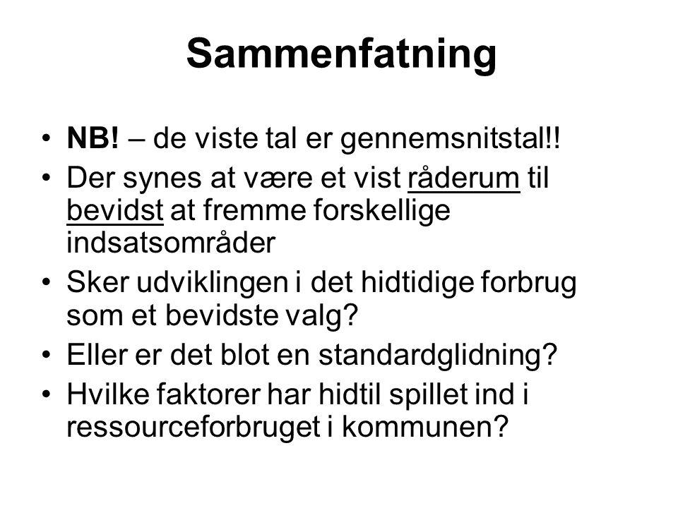Sammenfatning NB. – de viste tal er gennemsnitstal!.