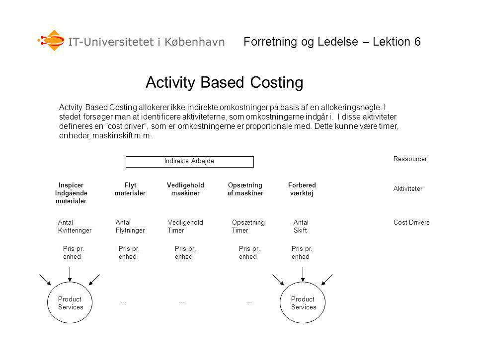 Forretning og Ledelse – Lektion 6 Activity Based Costing Actvity Based Costing allokerer ikke indirekte omkostninger på basis af en allokeringsnøgle.