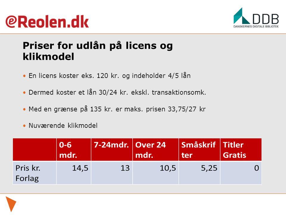 Priser for udlån på licens og klikmodel En licens koster eks.