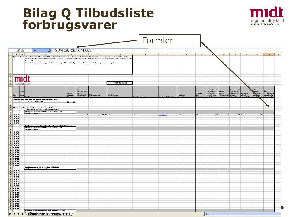 Indkøb & Medicoteknik 10 ▪ www.IM.rm..dk Bilag Q Tilbudsliste forbrugsvarer Formler