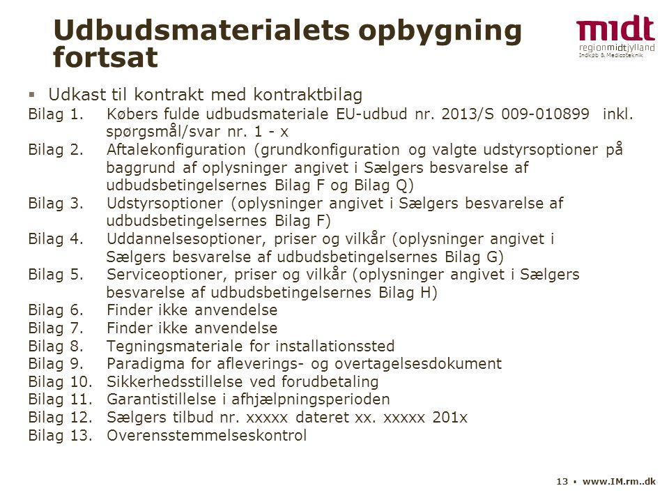 Indkøb & Medicoteknik 13 ▪ www.IM.rm..dk Udbudsmaterialets opbygning fortsat  Udkast til kontrakt med kontraktbilag Bilag 1.Købers fulde udbudsmateriale EU-udbud nr.
