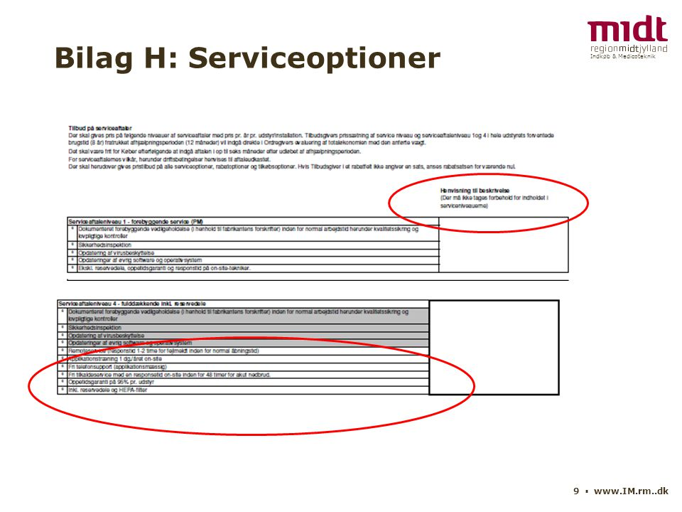 Indkøb & Medicoteknik 9 ▪ www.IM.rm..dk Bilag H: Serviceoptioner