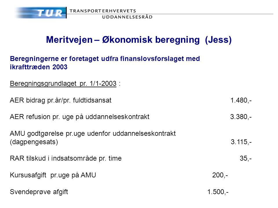 Meritvejen – Økonomisk beregning (Jess) Beregningerne er foretaget udfra finanslovsforslaget med ikrafttræden 2003 Beregningsgrundlaget pr.