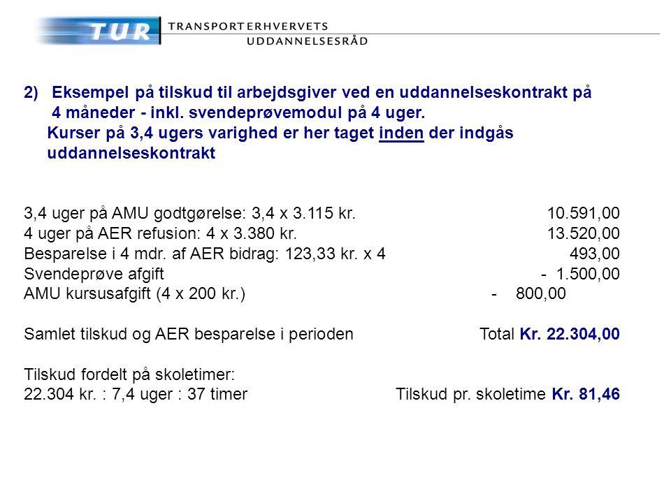 2)Eksempel på tilskud til arbejdsgiver ved en uddannelseskontrakt på 4 måneder - inkl.