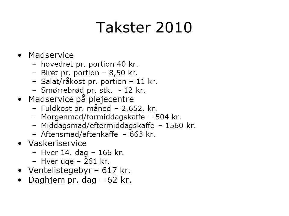 Takster 2010 Madservice –hovedret pr. portion 40 kr.