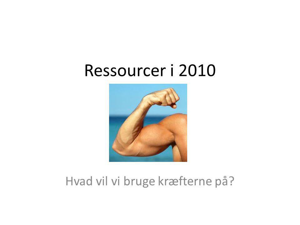 Ressourcer i 2010 Hvad vil vi bruge kræfterne på