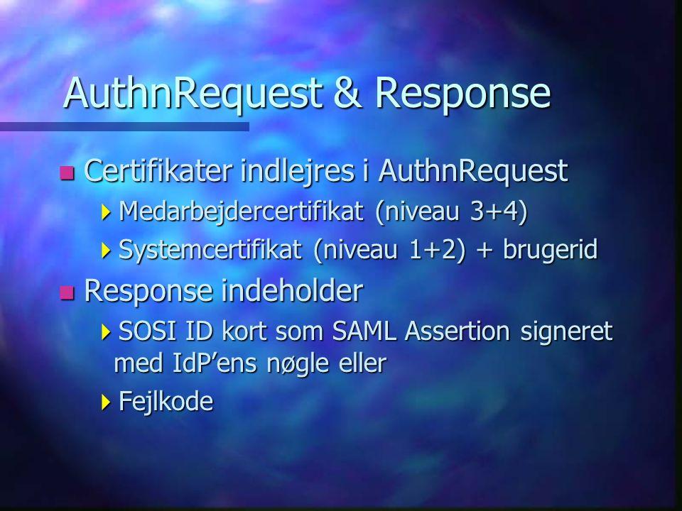 AuthnRequest & Response n Certifikater indlejres i AuthnRequest  Medarbejdercertifikat (niveau 3+4)  Systemcertifikat (niveau 1+2) + brugerid n Response indeholder  SOSI ID kort som SAML Assertion signeret med IdP'ens nøgle eller  Fejlkode