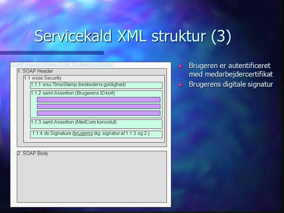 Servicekald XML struktur (3) n Brugeren er autentificeret med medarbejdercertifikat n Brugerens digitale signatur 1.