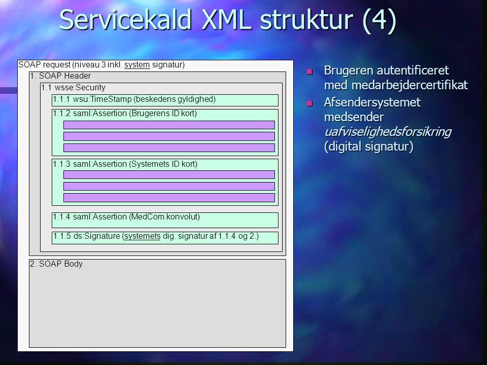 Servicekald XML struktur (4) 1. SOAP Header 2.