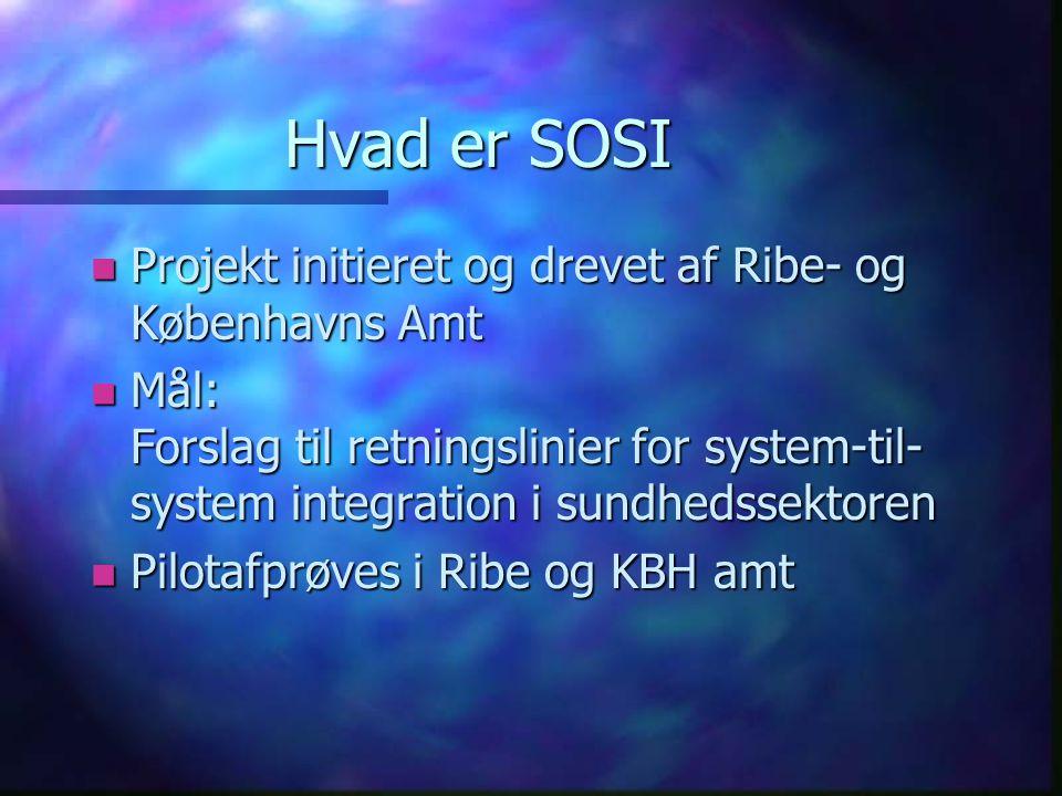 Hvad er SOSI n Projekt initieret og drevet af Ribe- og Københavns Amt n Mål: Forslag til retningslinier for system-til- system integration i sundhedssektoren n Pilotafprøves i Ribe og KBH amt