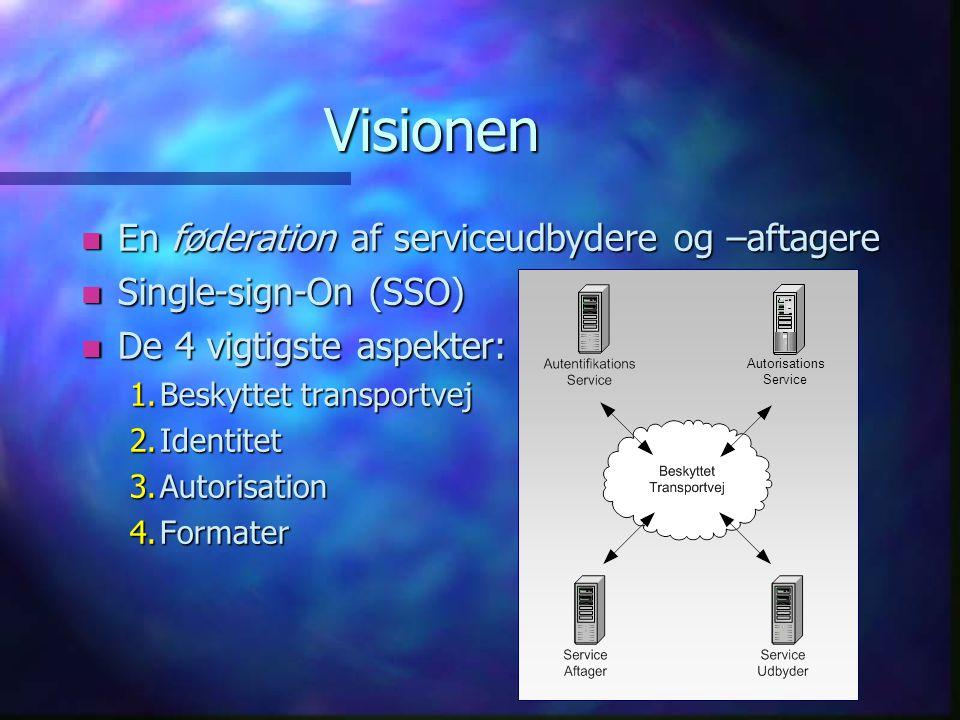 Visionen n En føderation af serviceudbydere og –aftagere n Single-sign-On (SSO) n De 4 vigtigste aspekter: 1.Beskyttet transportvej 2.Identitet 3.Autorisation 4.Formater Autorisations Service