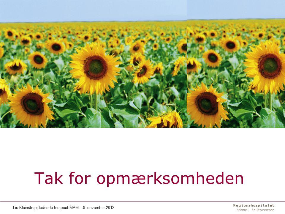 Regionshospitalet Hammel Neurocenter Tak for opmærksomheden Lis Kleinstrup, ledende terapeut MPM – 9.