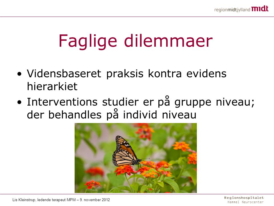 Regionshospitalet Hammel Neurocenter Faglige dilemmaer Vidensbaseret praksis kontra evidens hierarkiet Interventions studier er på gruppe niveau; der behandles på individ niveau Lis Kleinstrup, ledende terapeut MPM – 9.