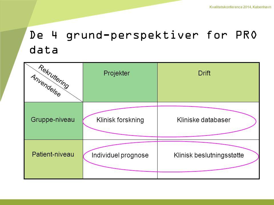 Kvalitetskonference 2014, København Rekruttering Anvendelse ProjekterDrift Gruppe-niveau Patient-niveau Kliniske databaser Individuel prognose Klinisk forskning Klinisk beslutningsstøtte De 4 grund-perspektiver for PRO data