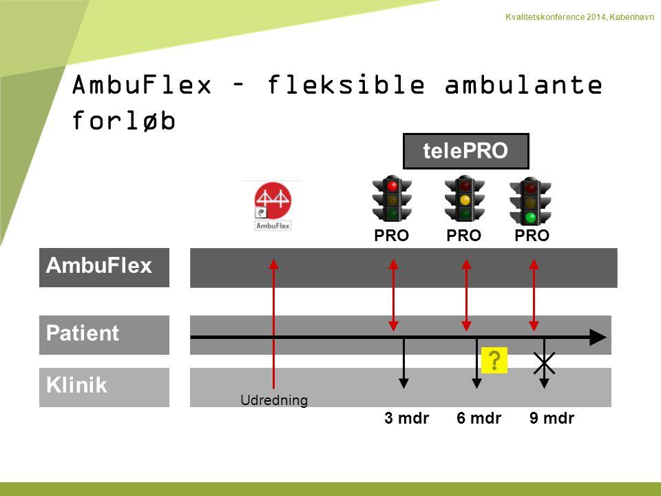 Kvalitetskonference 2014, København telePRO AmbuFlex Patient Klinik PRO Udredning 3 mdr6 mdr9 mdr AmbuFlex – fleksible ambulante forløb