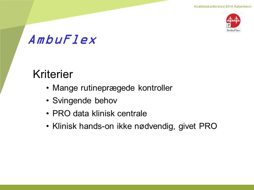 Kvalitetskonference 2014, København Kriterier Mange rutineprægede kontroller Svingende behov PRO data klinisk centrale Klinisk hands-on ikke nødvendig, givet PRO AmbuFlex