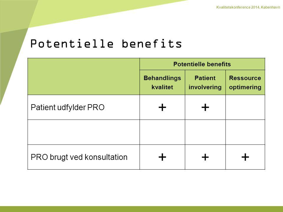 Kvalitetskonference 2014, København Potentielle benefits Behandlings kvalitet Patient involvering Ressource optimering Patient udfylder PRO ++ PRO brugt ved konsultation + + + Potentielle benefits