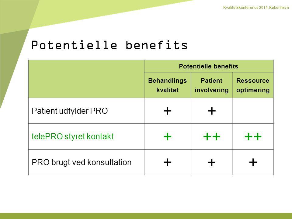 Kvalitetskonference 2014, København Potentielle benefits Behandlings kvalitet Patient involvering Ressource optimering Patient udfylder PRO ++ telePRO styret kontakt +++ PRO brugt ved konsultation + + + Potentielle benefits