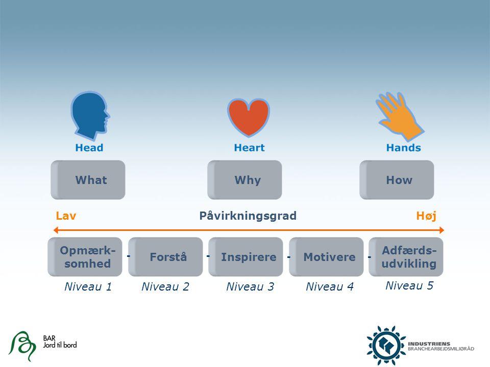 Opmærk- somhed ForståInspirereMotivere Adfærds- udvikling -- -- Niveau 1Niveau 2Niveau 3Niveau 4 Niveau 5 LavPåvirkningsgradHøj WhatWhyHow