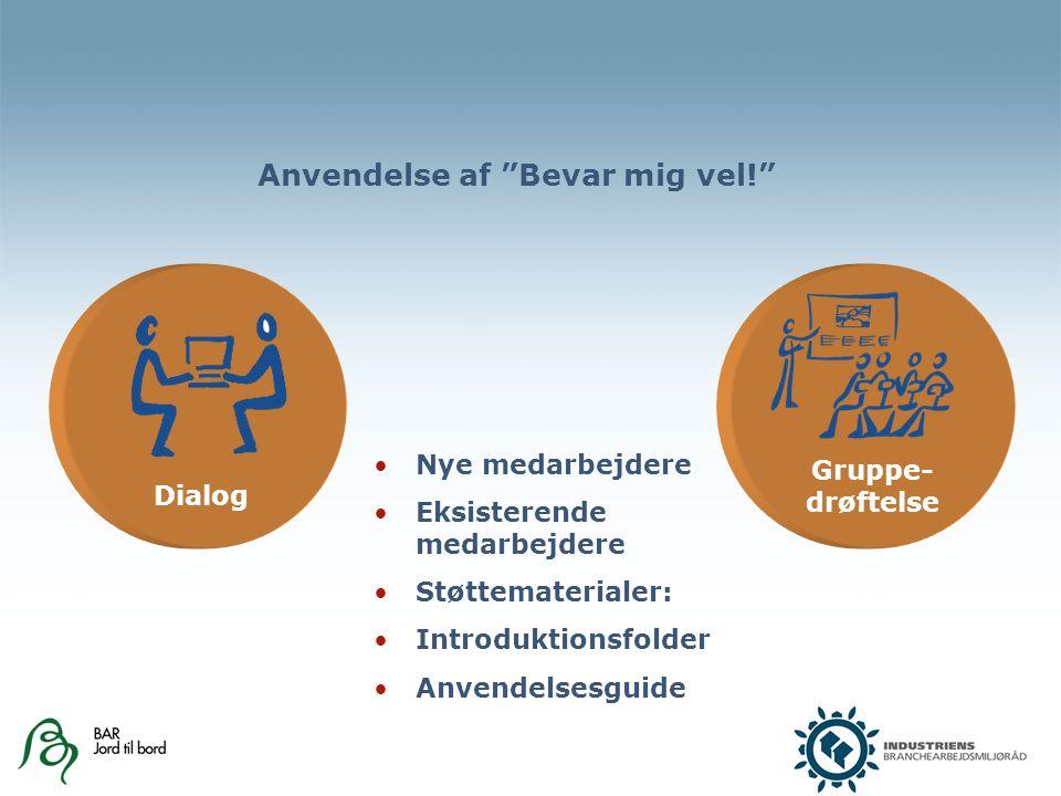 Dialog Gruppe- drøftelse Anvendelse af Bevar mig vel! Nye medarbejdere Eksisterende medarbejdere Støttematerialer: Introduktionsfolder Anvendelsesguide