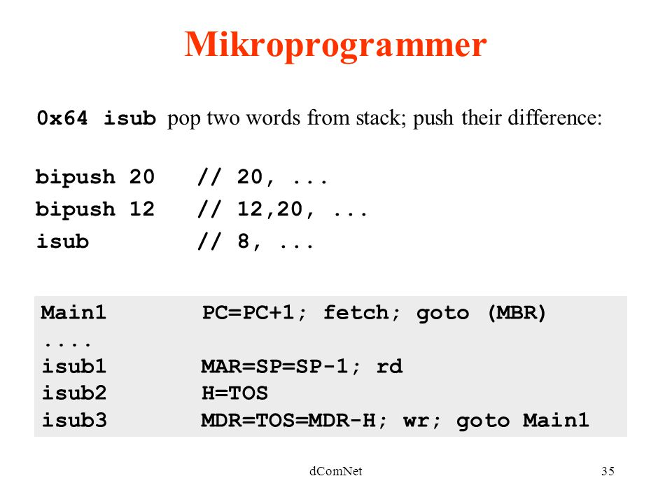 dComNet35 Mikroprogrammer 0x64 isub pop two words from stack; push their difference: bipush 20 // 20,...