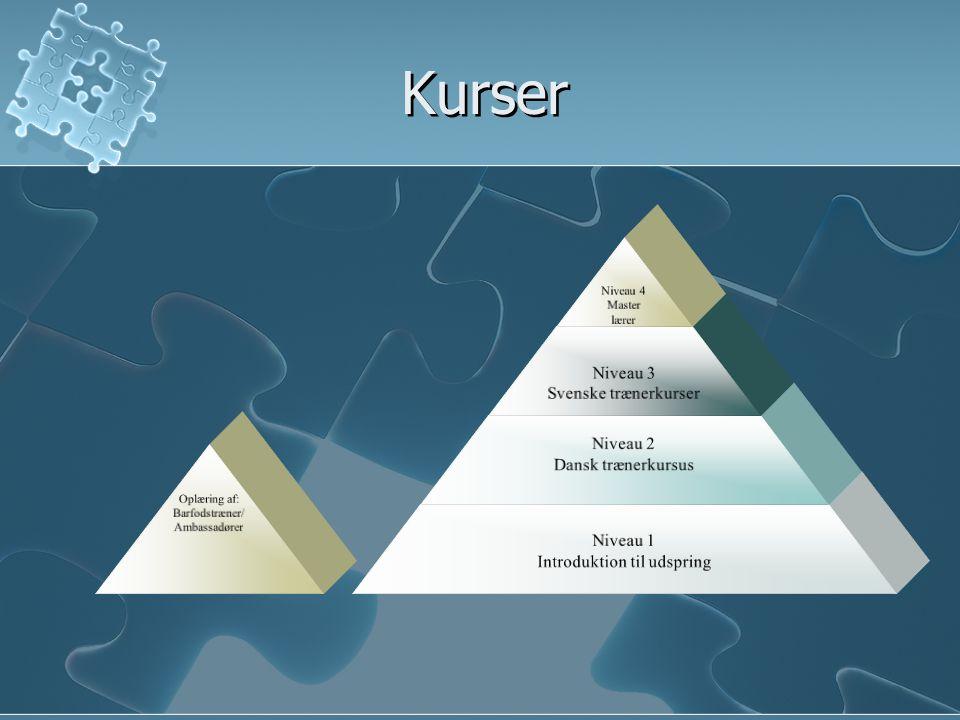 Kurser Niveau 4 Master lærer Niveau 3 Svenske trænerkurser Niveau 2 Dansk trænerkursus Niveau 1 Introduktion til udspring Oplæring af: Barfodstræner/ Ambassadører