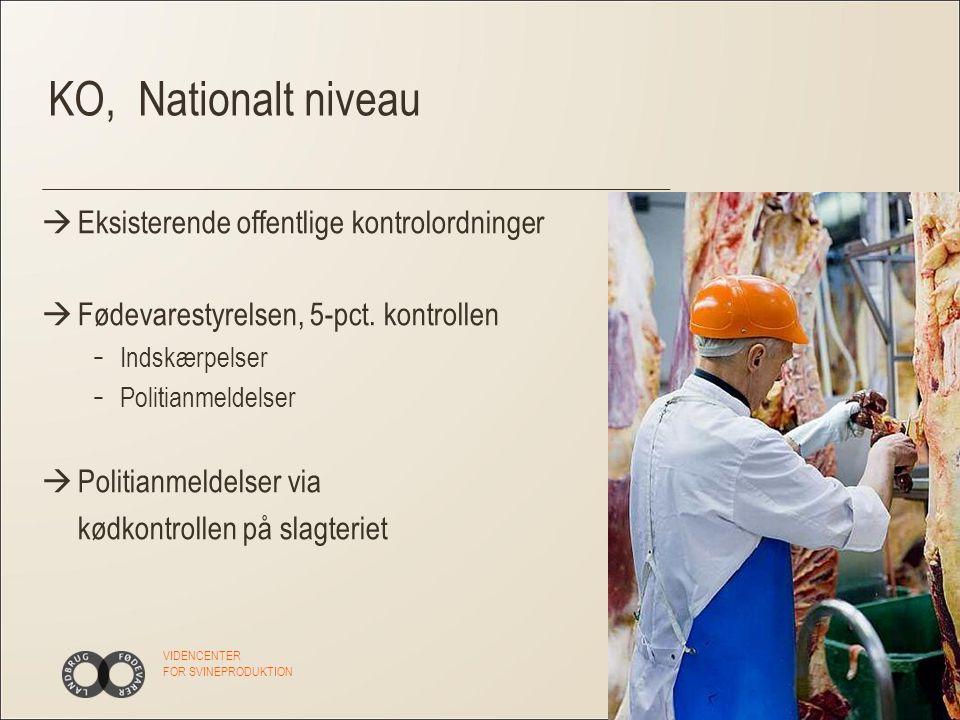 VIDENCENTER FOR SVINEPRODUKTION KO, Nationalt niveau  Eksisterende offentlige kontrolordninger  Fødevarestyrelsen, 5-pct.