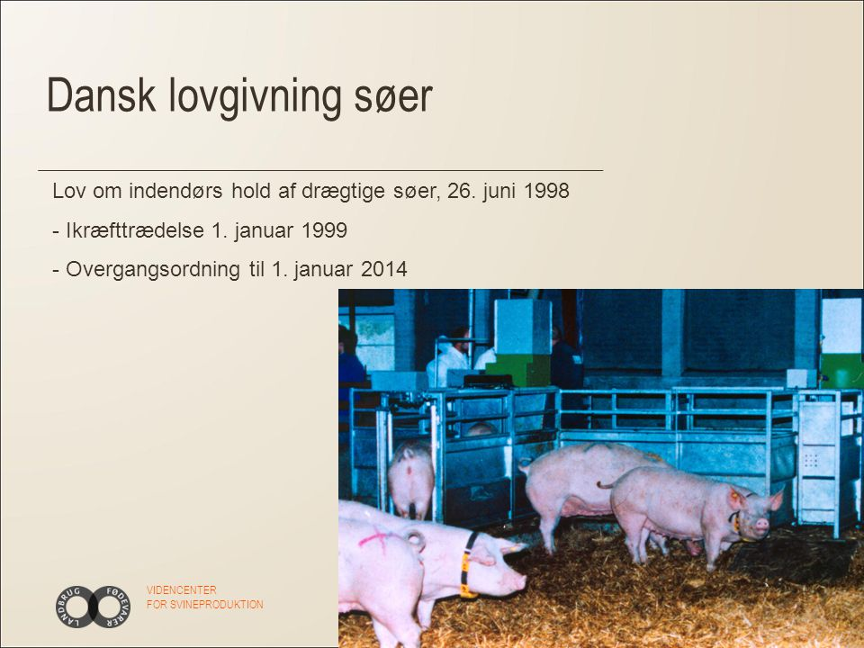 VIDENCENTER FOR SVINEPRODUKTION Dansk lovgivning søer Lov om indendørs hold af drægtige søer, 26.