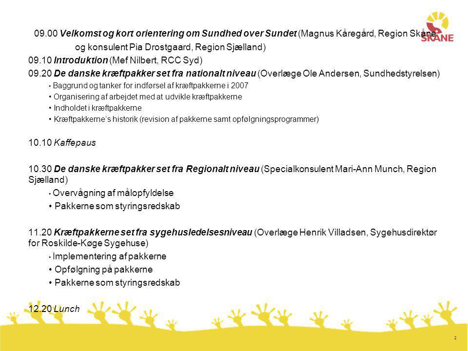 2 09.00 Velkomst og kort orientering om Sundhed over Sundet (Magnus Kåregård, Region Skåne og konsulent Pia Drostgaard, Region Sjælland) 09.10 Introduktion (Mef Nilbert, RCC Syd) 09.20 De danske kræftpakker set fra nationalt niveau (Overlæge Ole Andersen, Sundhedstyrelsen) Baggrund og tanker for indførsel af kræftpakkerne i 2007 Organisering af arbejdet med at udvikle kræftpakkerne Indholdet i kræftpakkerne Kræftpakkerne's historik (revision af pakkerne samt opfølgningsprogrammer) 10.10 Kaffepaus 10.30 De danske kræftpakker set fra Regionalt niveau (Specialkonsulent Mari-Ann Munch, Region Sjælland) Overvågning af målopfyldelse Pakkerne som styringsredskab 11.20 Kræftpakkerne set fra sygehusledelsesniveau (Overlæge Henrik Villadsen, Sygehusdirektør for Roskilde-Køge Sygehuse) Implementering af pakkerne Opfølgning på pakkerne Pakkerne som styringsredskab 12.20 Lunch