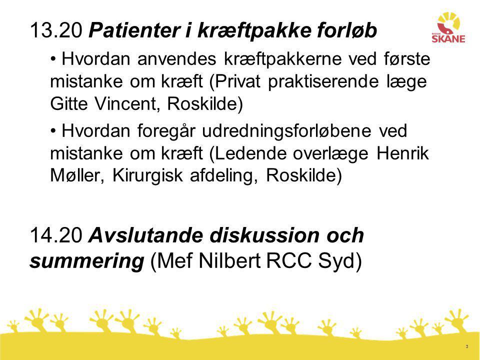 3 13.20 Patienter i kræftpakke forløb Hvordan anvendes kræftpakkerne ved første mistanke om kræft (Privat praktiserende læge Gitte Vincent, Roskilde) Hvordan foregår udredningsforløbene ved mistanke om kræft (Ledende overlæge Henrik Møller, Kirurgisk afdeling, Roskilde) 14.20 Avslutande diskussion och summering (Mef Nilbert RCC Syd)