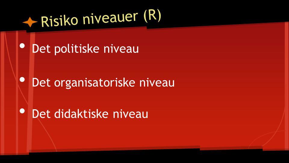 Det politiske niveau Det organisatoriske niveau Det didaktiske niveau Risiko niveauer (R)