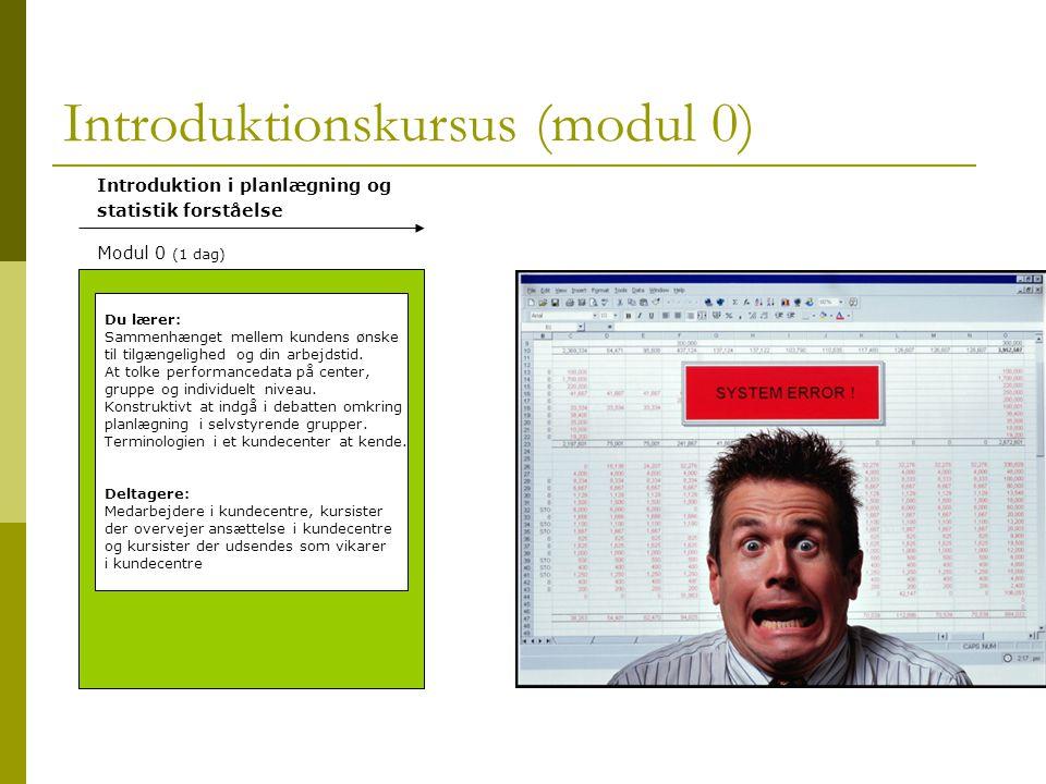 Introduktionskursus (modul 0) Du lærer: Sammenhænget mellem kundens ønske til tilgængelighed og din arbejdstid.