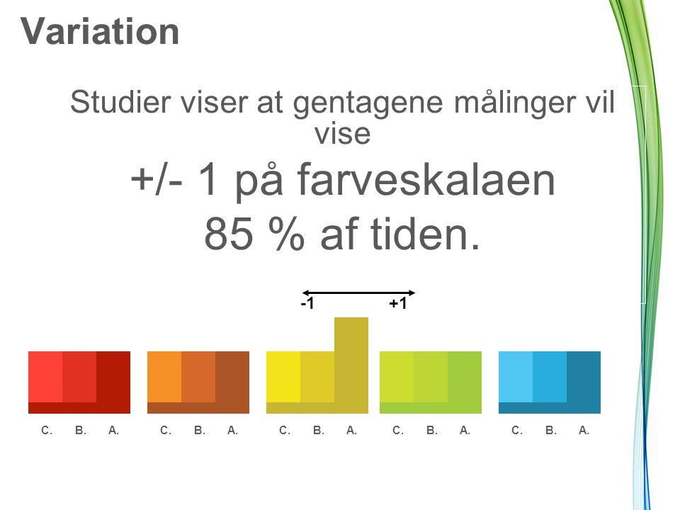 Variation Studier viser at gentagene målinger vil vise +/- 1 på farveskalaen 85 % af tiden.