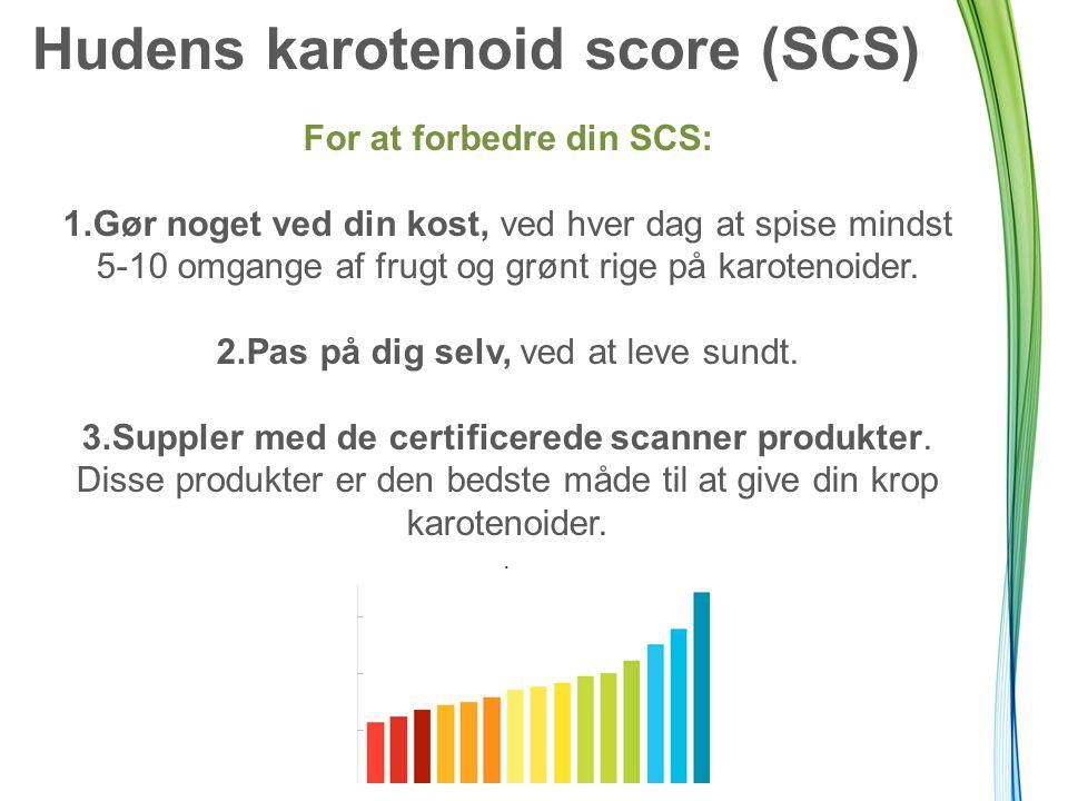 Hudens karotenoid score (SCS) For at forbedre din SCS: 1.Gør noget ved din kost, ved hver dag at spise mindst 5-10 omgange af frugt og grønt rige på karotenoider.